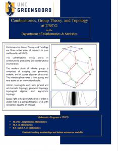Combinatorics, Group theory, and Topology Brochure