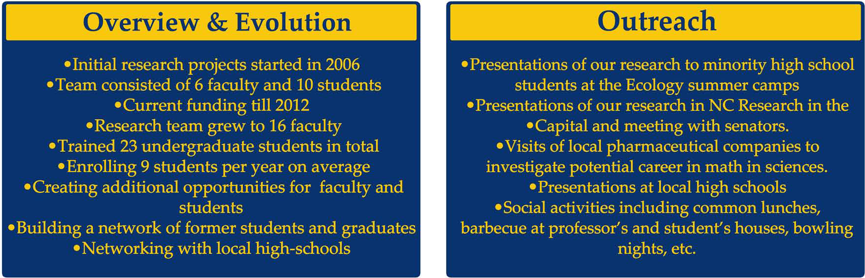 Overview & Evolution, Outreach