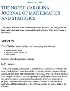 North Carolina Journal of Mathematics and Statistics
